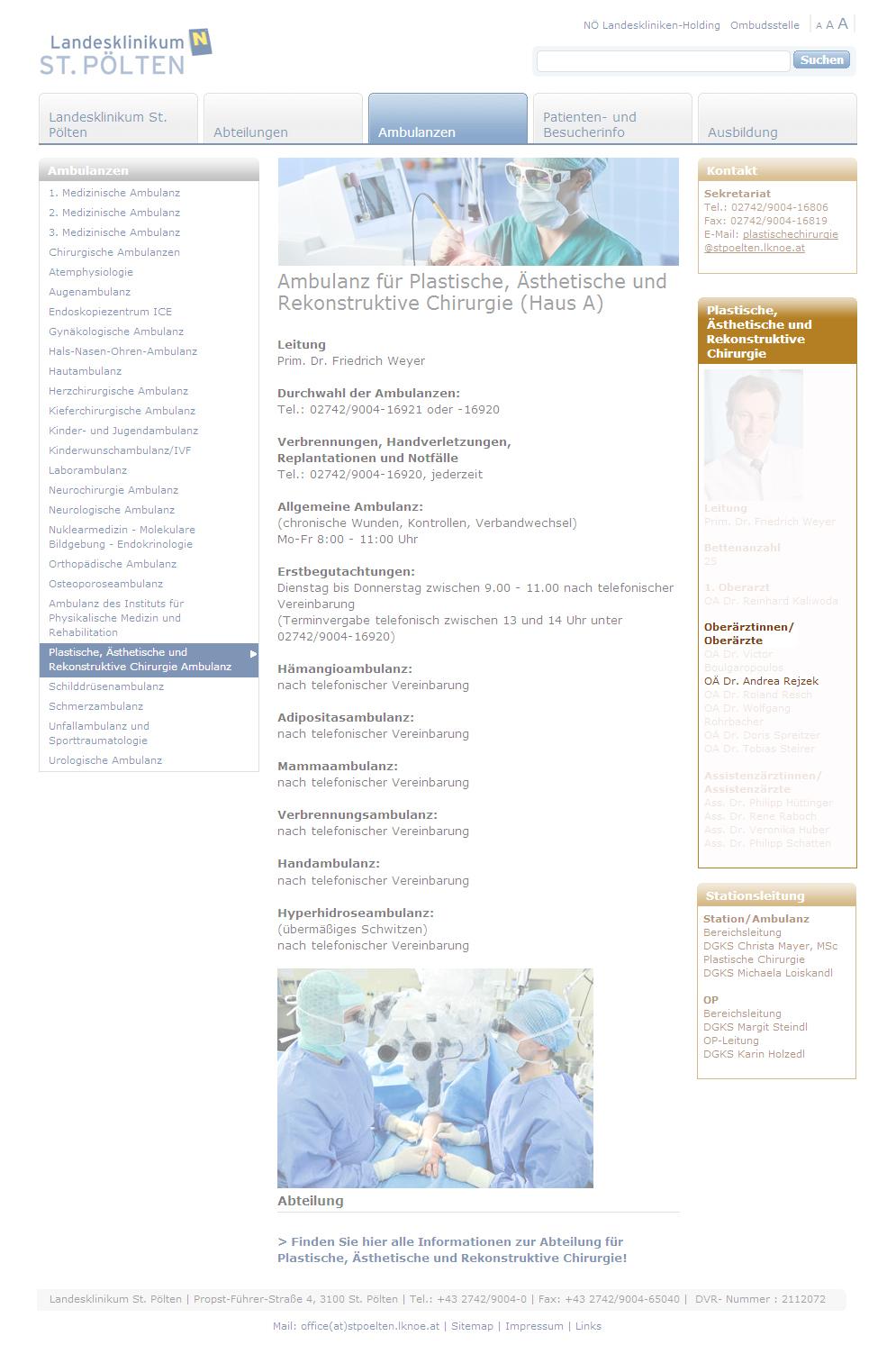 Dr. med. Andrea Rejzek bei der Landesklinikum ST. PÖLTEN