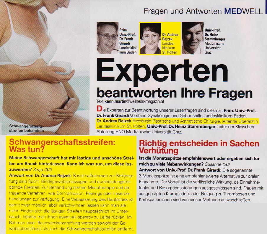 Dr. med. Andrea Rejzek bei der Wellness Magazin